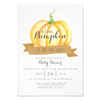 Little Pumpkin | Watercolor | Baby Shower Invite