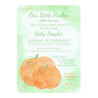 Little Pumpkin Watercolor Halloween Baby Shower Card