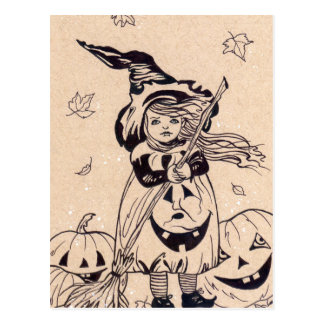 Little Pumpkin Witch broom halloween postcard