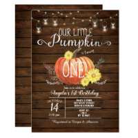 Little Pumpkin Wood Fall 1st Birthday invite