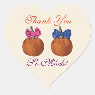 Little Pumpkins Twins Thank You Heart Sticker
