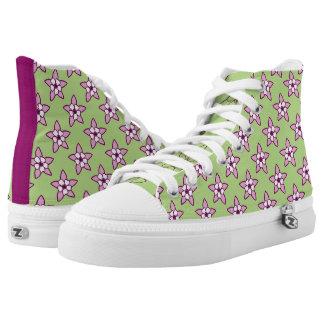 Little Purple Columbines on Green by Aleta High-Top Sneakers