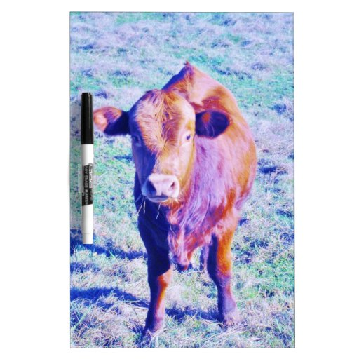 Little Purple Cow in Pasetl teal grass Dry Erase Board