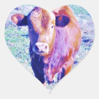 Little Purple Cow in Pasetl teal grass Heart Sticker