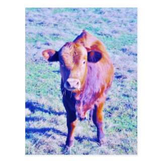 Little Purple Cow in Pasetl teal grass Postcard