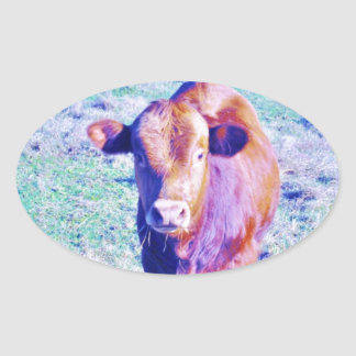 Little Purple Cow in Pasetl teal grass Oval Sticker