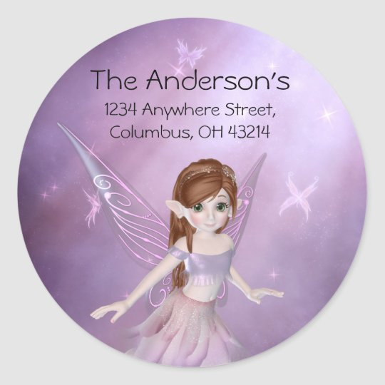 Little Purple Fairy Address Labels/Stickers Classic Round Sticker
