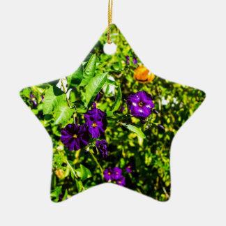 Little Purple Flowers Ceramic Ornament