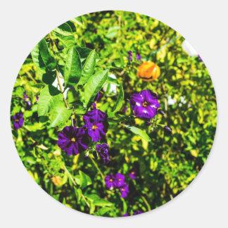 Little Purple Flowers Classic Round Sticker