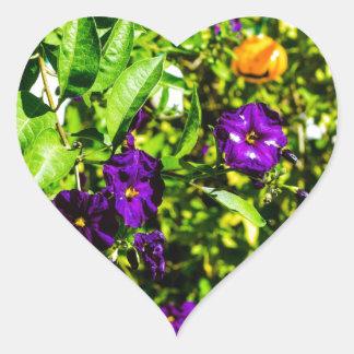 Little Purple Flowers Heart Sticker