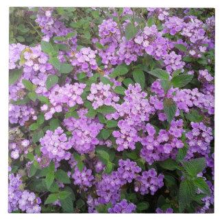 Little Purple Flowers Large Square Tile