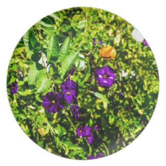 Little Purple Flowers Melamine Plate