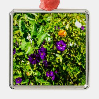 Little Purple Flowers Metal Ornament