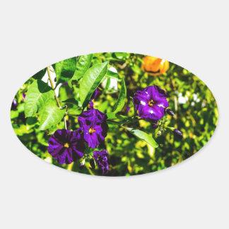 Little Purple Flowers Oval Sticker