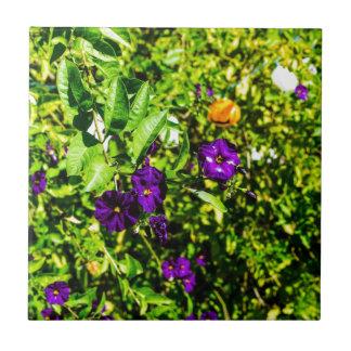 Little Purple Flowers Small Square Tile