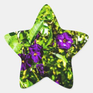 Little Purple Flowers Star Sticker