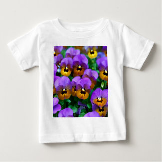 Little Purple Pansies Trimmed in Yellow Gold Baby T-Shirt