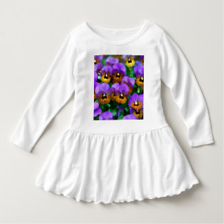 Little Purple Pansies Trimmed in Yellow Gold Dress