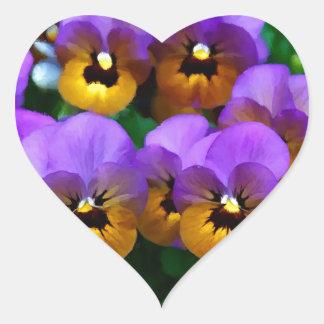Little Purple Pansies Trimmed in Yellow Gold Heart Sticker