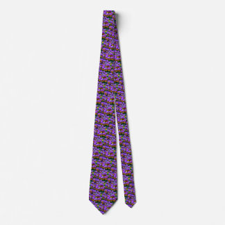 Little Purple Pansies Trimmed in Yellow Gold Neck Tie