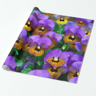 Little Purple Pansies Trimmed in Yellow Gold Wrapping Paper