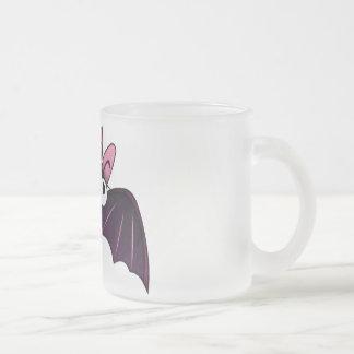 LITTLE PURPLE & PINK BIG-EYED BAT FROSTED GLASS COFFEE MUG