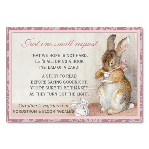 Baby Shower Gifts Off Registry ~ Little rabbit baby shower book gift registry card zazzle