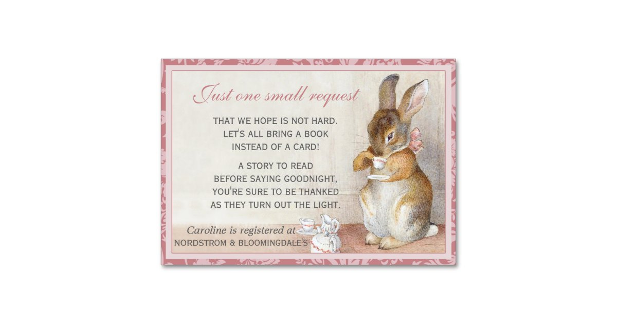 Little Rabbit Baby Shower Book Gift Registry Card Zazzle Com
