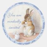 Little Rabbit Blue Invitation Envelope Seals Round Stickers