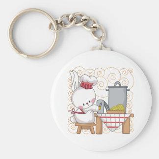 Little Rabbit Cook Basic Round Button Keychain