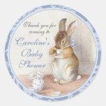Little Rabbit Custom Baby Shower Blue Thank You Round Sticker