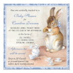 Little Rabbit Custom Baby Shower Invitations Blue