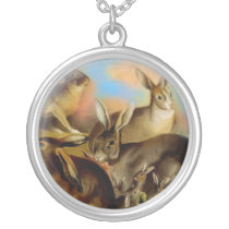 Little Rabbit Family Round Silver Necklace