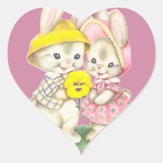 Little rabbits heart sticker