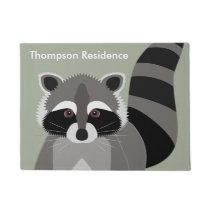 Little Raccoon Rascal Personalized Doormat