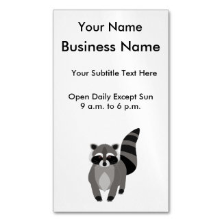 Little Raccoon Rascal Personalized Magnetic Business Card