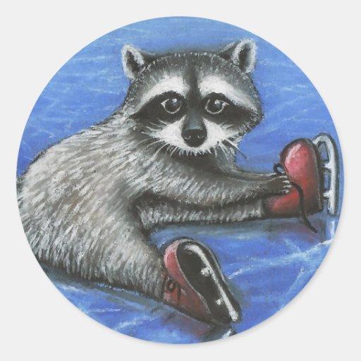 Little raccoon round stickers