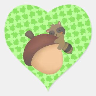 Little Racoon Green Sticker