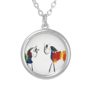 Little Rainbow Ponies Silver Plated Necklace