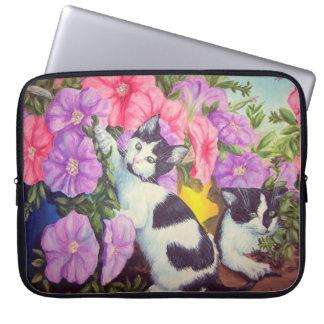 """Little Rascals"" kittens and petunias Computer Sleeve"