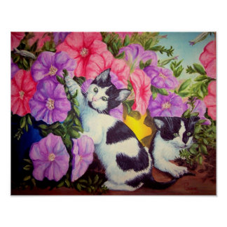 """""""Little Rascals"""" kittens and petunias Posters"""