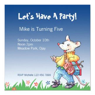 Little Rat with Accordeon Blue Invitation... Card