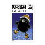 Little raven postage stamp