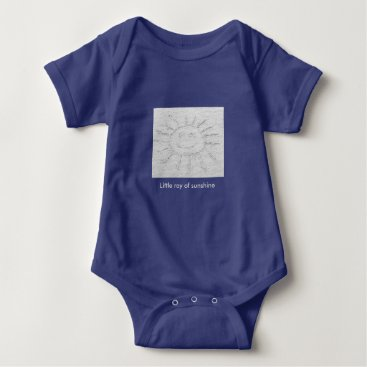 Beach Themed Little ray of sunshine smiley face drawing on sand baby bodysuit