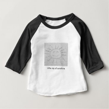Beach Themed Little ray of sunshine smiley face drawing on sand baby T-Shirt