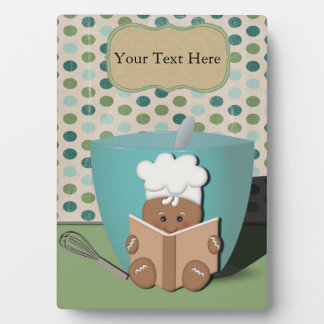 Little Recipe Reading Gingerbread with Mixing Bowl Plaque