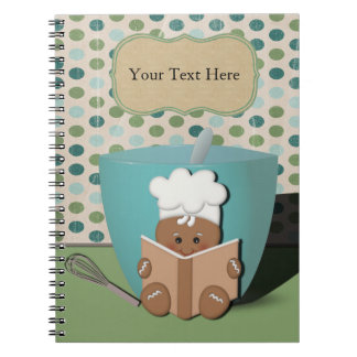 Little Recipe Reading Gingerbread with Mixing Bowl Spiral Notebook