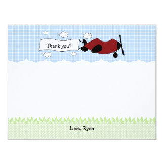 Little Red Airplane Birthday Party Thank You Note Card