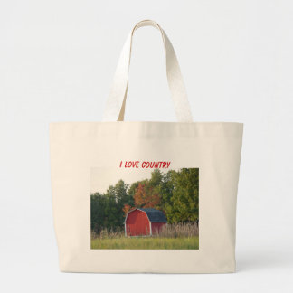 Little Red Barn In Autumn, I LOVE COUNTRY Large Tote Bag