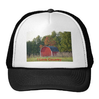 Little Red Barn In Autumn, I Love Country Trucker Hat
